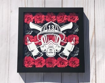 Fireman Gift - Firefighter Wife - Fire Department - Fireman Birthday - Firefighter Decor - Firefighter Wall Art - Shadow Box Frame - Fireman