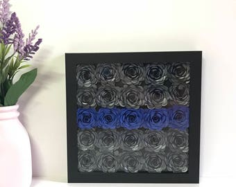 Police Officer Gift - Unique Police Gift - Law Enforcement Gift - Thin Blue Line Frame - Police Gift - Thin Blue Line Gift - Paper Flowers