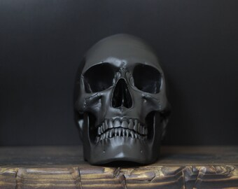 The Midnight Saint II - Matte Black Full Scale Life Size Realistic Faux Human Skull Replica with Removable Jaw  / Art / Ornament / Decor