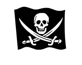 CALICO JACK - Jolly Roger Quality Vinyl Decal, Jack Rackham , Pirate flag, Car Decal, Laptop Decal, Yeti Decal, FAST Shipping!!
