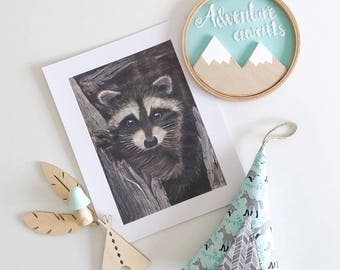 Raccoon Wall Art, Woodland Decor, Wildlife Illustration, Woodland Nursery, Wildlife Art Print, Forest Art Print, Gender Neutral Nursery