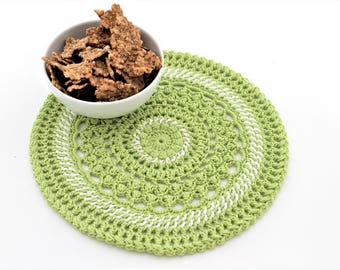 Crochet green doily  Round Doily Gift for her Housewarming gift  Mother day Home decor