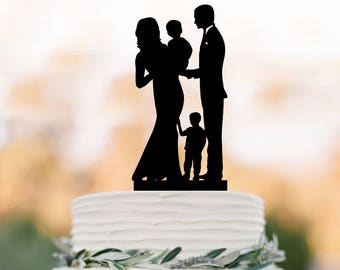 family Wedding Cake topper with baby and boy, bride and groom with two son silhouette wedding cake topper