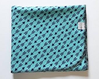 Turquoise Arrows Flannel Receiving Blanket; Baby Blanket; Flannel Blanket; Baby Boy Blanket; Blue Blanket