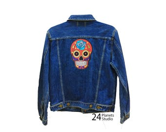 Large Red Mexican Skull Large Iron on Patch by 24PlanetsStudio Jacket Patch