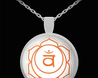 Orange Chakra Necklace 2nd Sacral Sophisticated Creativity Jewelry Present Yoga Meditate Valentine Birthday Gift