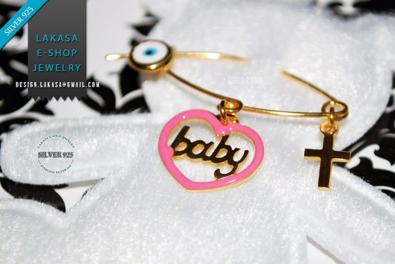 Pink Enamel Heart Baby Girl Brooch Sterling Silver Gold Handmade Jewelry Cross Eye Christening Mama HappyShowerDay Religious Baptism Newborn