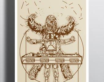 Victory or Death T-shirt / Star Wars Tee / Chewbacca, Han Solo &  Boba Fett/ Vitruvian / Free Shipping worldwide
