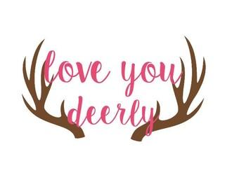 Love You Deerly Wall Crib Vinyl Decal 11x7