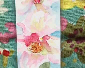 An original, laminated, watercolor bookmark, Rugosa Roses