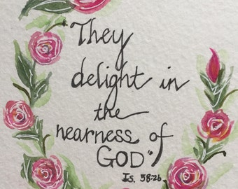 An Original Pen and Ink and Watercolor, Roses with Scripture