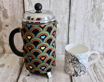 Coffee Cozy with Retro Hearts. Coffee Lovers Gift. French Press Cozy. Retro Decor. Coffee Pot Cozy. Retro Housewares. Cotton Anniversary.