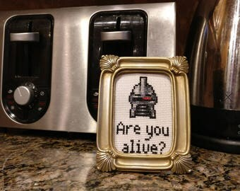 "Battlestar Galactica inspired Cylon cross stitch pattern - Are you alive? (""Toaster"")"