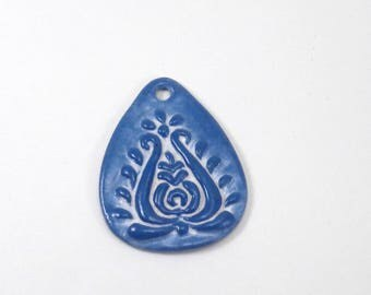 SALE! Blue-White Floral Folk Art Pendant, Hungarian Motifs Inspired, Cold Porcelain Jewelry