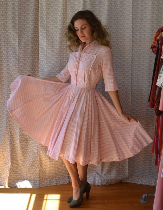 Bubblegum Betty Dress   vintage 50's pink striped shirtwaist dress   small