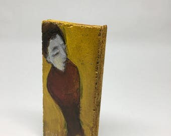 Small painting on wood, decorative gift - young man on a yellow background