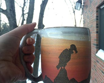 Hand Crafted Ombre Sunset Mug | Vulture | Hawk | Birds of Prey | Mountains | Rocks | Landscape | Handmade functional piece
