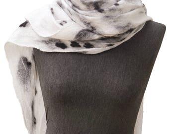 Womens scarf, Leopard scarf for women, Leopard shawl, Felted scarf shawl, White scarf, Fur like scarf, Nuno felt scarf, Merino wool scarf