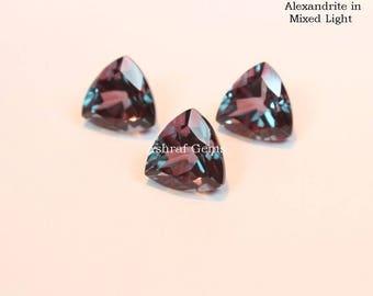 10 pcs Natural ALEXANDRITE Gemstone, Faceted Trillion shape Gemstone, Color Changing Alexandrite Doublet Quartz +++AAA Quality Gems Lx#2108