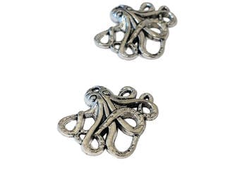4 or 20 BULK Octopus Charms | Silver Octopus | Steampunk Octopus | Kraken Charm | Cthulhu Charm | Ready to Ship USA | AS041