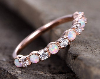 Opal Wedding Ring/Opal ring/Opal Wedding Band/Rose Gold Plated/Sterling Silver/CZ Diamond Enternity band/Vintage Opal Diamond Ring/