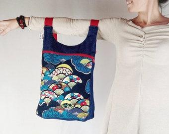 Mochila abanico japones, mochila mujer, bolso estilo japonés, mochila universidad, bolso mochila, mochila denim estampada, mochila diaria