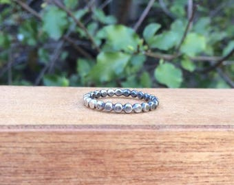 Sterling Silver Beaded Band Stacking Ring / Bead Band Ring / Sterling Silver Ring / Bead Stack Ring / Bubble Ring Band / Bubble Stack Ring