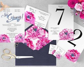 Wedding Bundle. Paquete de boda. Invitación, boletos personal, carta información extra, números de mesa, forro para sobre. Instant Download