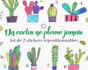 """Set of 2 stickers """"cactus don't cry never."""" - garden Planner, Bujo, Stickers, Nature, Christmas decoration, planner, diary"""