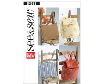 See & Sew B4583 - Flap Front Messenger Bag and Backpack