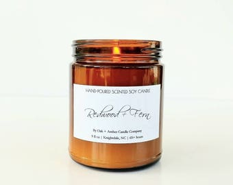 REDWOOD + FERN | Soy Candle | Amber Apothecary | Scented Candle | Candles | Nature Candle | Natural Woodsy Soy Candle