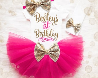 1st Birthday Girl Outfit | Pink And Gold 1st Birthday Girl Outfit | First Birthday Girl Shirt | It's My Birthday | Birthday Tutu Set