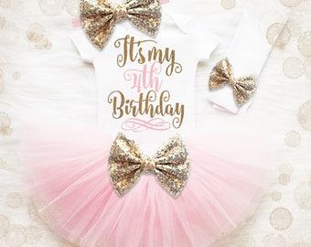 4th Birthday Outfit Girl   4th Birthday Girl Shirt   Pink And Gold Birthday Outfit   4th Birthday Tutu Set   Girl 4th Birthday Tutu Set