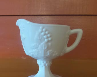 Vintage Milk Glass Creamer Harvest Grape Pattern