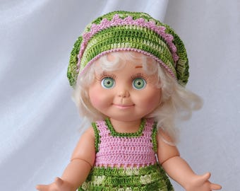 Galoob baby face doll clothes. Crochet dress + crochet hat