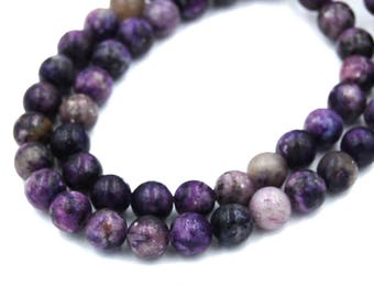 """Two 15.5"""" strands, Purple Mica Beads Round Lepidolite  8mm"""