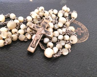 Mother of Pearl Rosary, 6 Decade Vintage Rosary, Lourdes, Jesus, 72 Beaded Rosary, Virgin Mary, Religious Jewellery