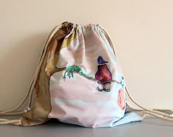 Backpack, beach bag, backpack bag, illustrated and sewn by my tentacles! Original watercolor illustration.