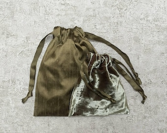 Kit 2 unique smallbags - silk and bronze velvet - reusable bags - zero waste