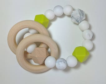 BPA-Free Silicone and Maple Wood Teething Rattle - Teething Ring - Teether - Gift For Baby - Teething Accessory