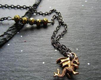 Baby Dragon Asymmetric Necklace, Dragon Necklace, Unique Dragon Necklace, Gift for Dragon Lover, Dragon Jewellery, Copper Dragon, Gunmetal