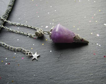 Premium Amethyst Cone Necklace, Amethyst Necklace, Amethyst Jewellery, Unique Necklace, Gemstone Jewelry, Pointy Necklace, Amethyst Pendant