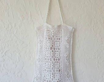 VINTAGE MACRAME BAG • Vintage tote bag • White Macrame tote • Woven bag • Knitted Shoulder bag • Vintage handbag • Shopping bag •