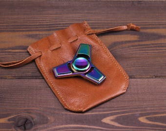 Fidget spinner leather case. Stress spinner case. Finger spinner case 100% handmade. Fidget holder. Hand spinner case caps. Gift.