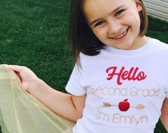 First day of first shirt back to school shirt girls 1st grade shirt first grade shirt personalized school tee hello first grade