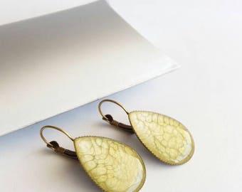 Bronze drop earrings, earrings, dangle earrings honey, vintage bronze jewelry, earrings yellow gold
