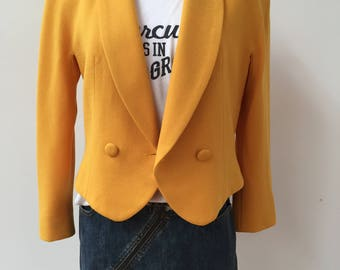 Vintage Gianni Sport Mustard Yellow Cropped Buttoned Blazer Jacket Coat Sz S/M