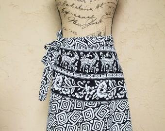 Black and White Block Print Wrap Skirt India Cotton Skirt Boho Skirt 70s Style Bohemian Skirt Indian Wrap Skirt Kalamkari Skirt Hippie Skirt