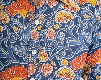 Mens 100% Cotton Long Sleeve Slim Fit Shirt Blue Orange Floral Flower Print