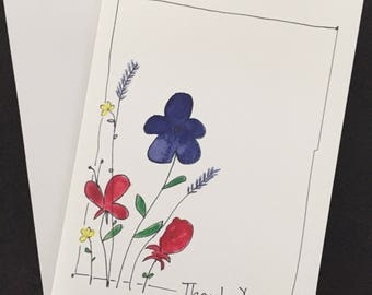 """Thank You card, watercolor and ink, hand drawn flowers, 5""""x7"""" card, border, bright colors"""